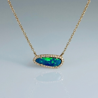 14K Rose Gold Opal Diamond Necklace 0.67ct/0.08ct