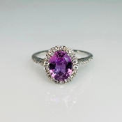 14K White Gold Purple Sapphire Diamond Ring 1.78/0.29ct