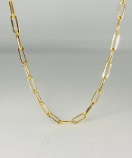 14K Yellow Gold Paper Clip Chain Large Link Necklace 16""