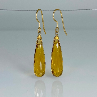Citrine Hydro Quartz Earrings (7x25mm)