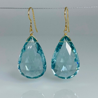 Pear Shape Aqua Quartz Earrings 20x30mm