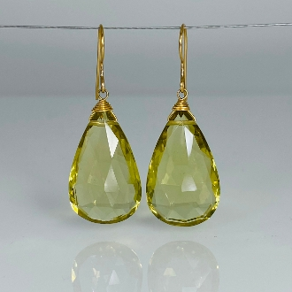 Pear Shape Lemon Quartz Drop Earrings 15x26mm