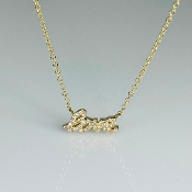 14K Yellow Gold Mini Diamond Love Necklace 0.08ct