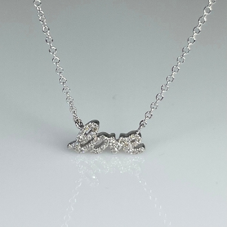14K White Gold Mini Diamond Love Necklace 0.08ct