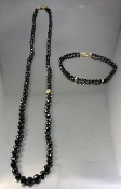 14 Karat Yellow Gold Black Diamond Beads Necklace (90ct)
