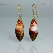 Marquise Fire Agate Earrings 10x24mm