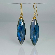 Marquise Labradorite Earrings 10x34mm