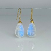 Pear Shape Rainbow Moonstone Earrings 11x21mm