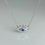 14K White Gold Blue Sapphire Diamond Eye Necklace