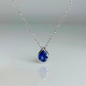 14K White Gold Teardrop Blue Sapphire Necklace 1.0ct