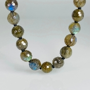 14 Karat Yellow Gold Labradorite Beaded Necklace (8mm)