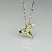 14 Karat Yellow Gold Hummingbird  Necklace