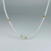 14K Yellow Gold White Topaz Bead Necklace