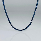 14 Karat Yellow Gold Blue Sapphire Beaded Necklace (2mm)