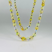"14K Yellow Gold Ethiopian Opal/Diamond Bead Long Necklace (36"")"