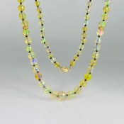 "14K Yellow Gold Ethiopian Opal/Diamond Bead Long Necklace (48"")"