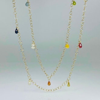 14K Yellow Gold Multicolor Sapphire Long Necklace (7.00ct)