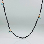 14K Rose Gold Black Onyx/Turquoise Necklace
