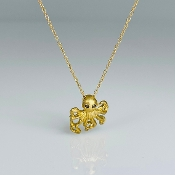 14 Karat Yellow Gold Black Diamond Octopus Necklace